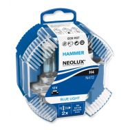 Set 2 becuri H4 - NEOLUX HAMMER Blue Light, 55/60W, Made in Germany