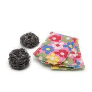 Burete cu microfibre (3 buc.) + lana de otel (2 buc.) 5 seturi/blister