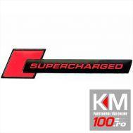 Emblema metalica Supercharged RED - (TS-105) - cu banda adeziva
