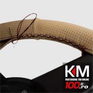 Husa volan din IMITATIE PIELE CREM, pentru autoturisme, diametru 37 - 39 cm, cu ac si ata (se coase, aspect ORIGINAL)