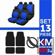 Set huse scaun 13 piese cu covorase mocheta si husa volan - BLUE