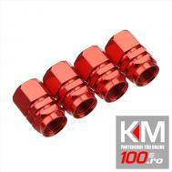Set capacele auto Automax pentru ventil hexagon rosu, 4 buc.